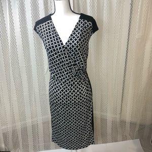 Dress barn Size 20 Black White Dress Faux Wrap